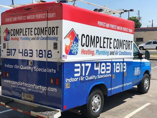 Full Vehicle Wrap for Complete Comfort Heating and Plumbing and Air Conditioning in Greenwood, IN