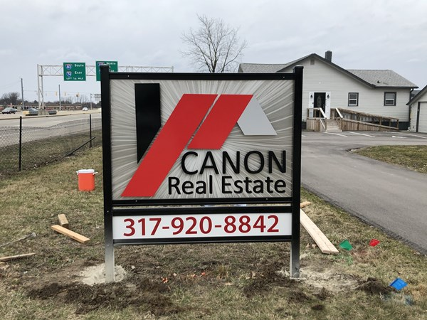 Post and Panel Sign for Canon Real Estate in Indianapolis,IN
