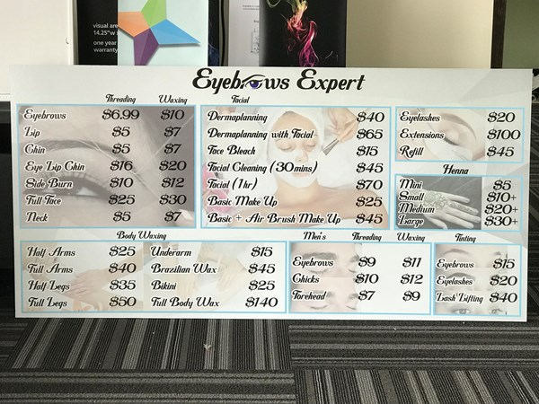 Price List Board for Eyebrow Experts in Indianapolis,IN
