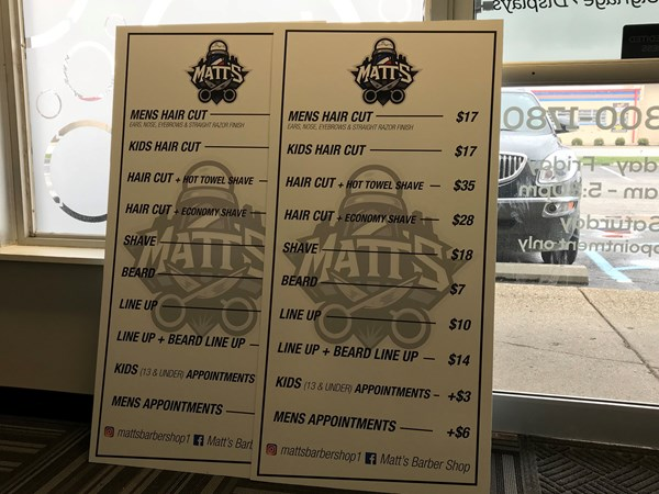 Matts Barber Shop Price List Board in Greenwood,IN